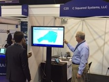 Joe Lesky of C Squared Systems discussing SitePortal monitoring software at BAPCO for the Public Safety industry
